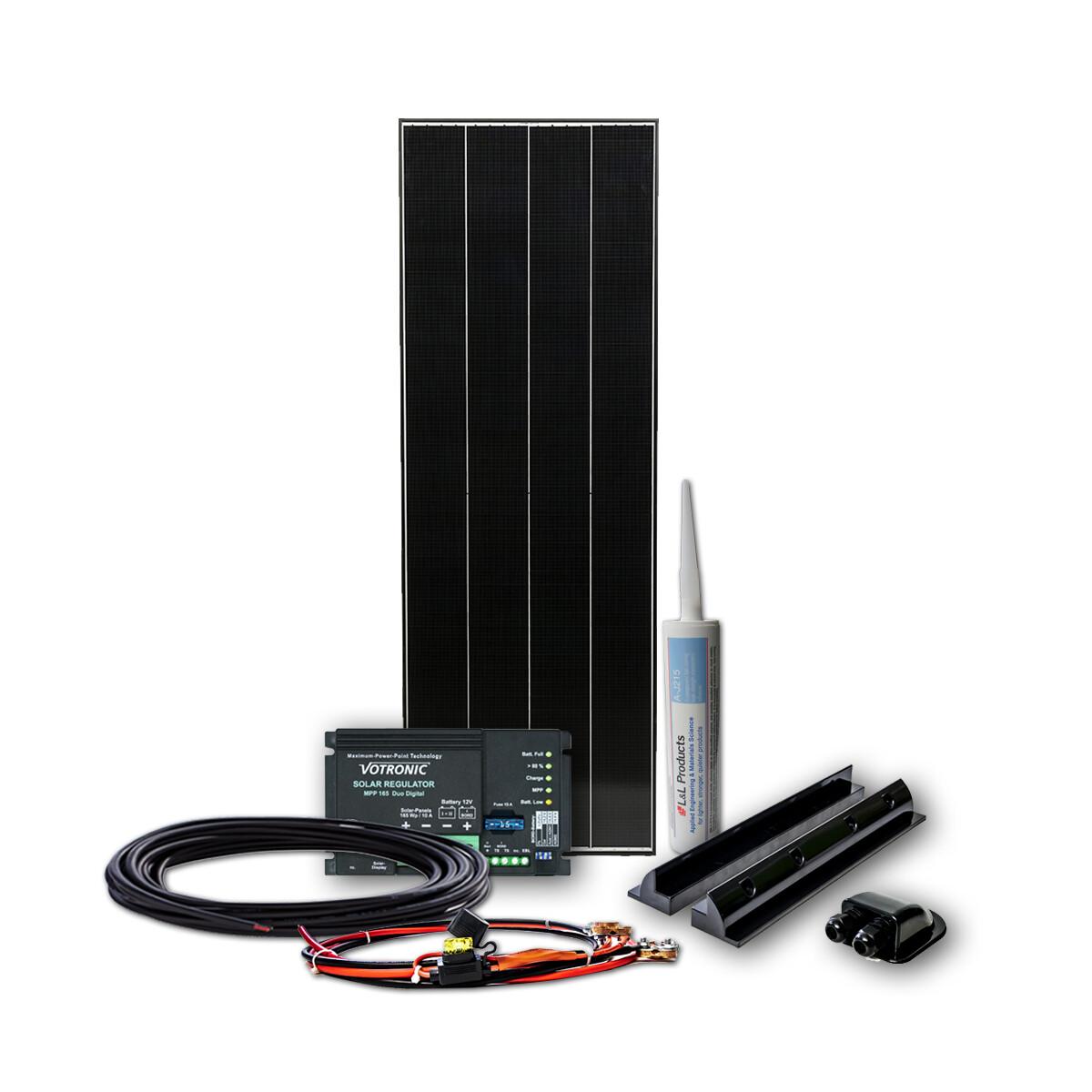 160w black line mppt wohnmobil solaranlage mit schindel zellen bls160 4. Black Bedroom Furniture Sets. Home Design Ideas